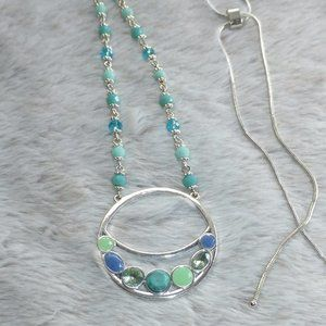 LC Adjustable Silver & Blue Bead Circle Necklace